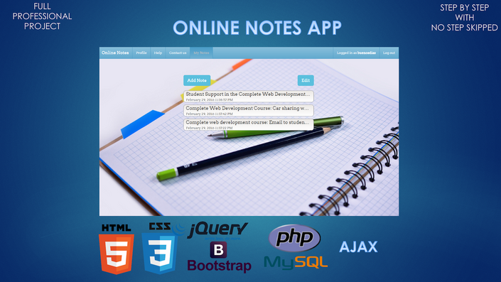 Build an Online Notes App using HTML, CSS, Bootstrap, PHP