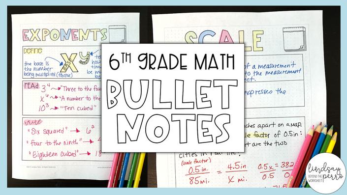6th Grade Math Bullet Notes | Lindsay Perro Inc